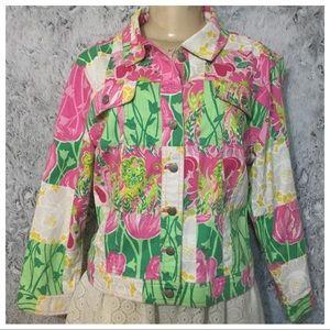 Lilly Pulitzer Multicolor Denim Jacket Size L
